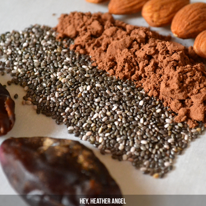 A few ingredients - dates, chia seeds, cocoa powder and almonds