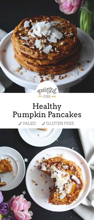 Healthy Pumpkin Pancakes recipe by PaintedFork.com (paleo/gluten free)