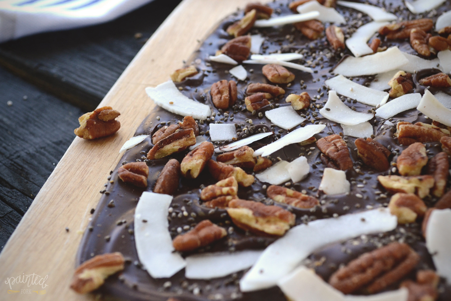 Coconut, Pecan, Chia & Himalayan Sea Salt Dark Chocolate Bark by Painted Fork