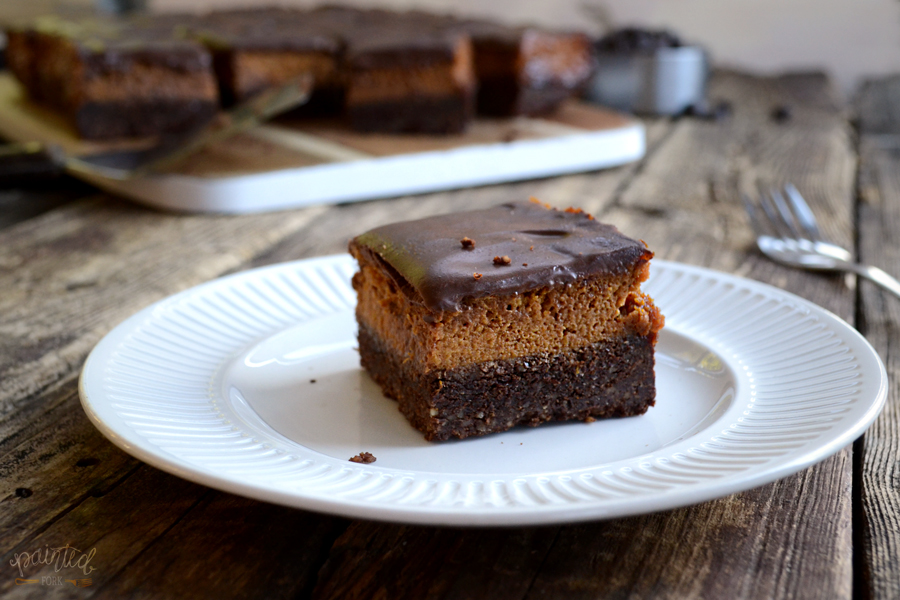 Paleo, gluten-free Triple Layer Chocolate & Pumpkin Pie Bars by Painted Fork