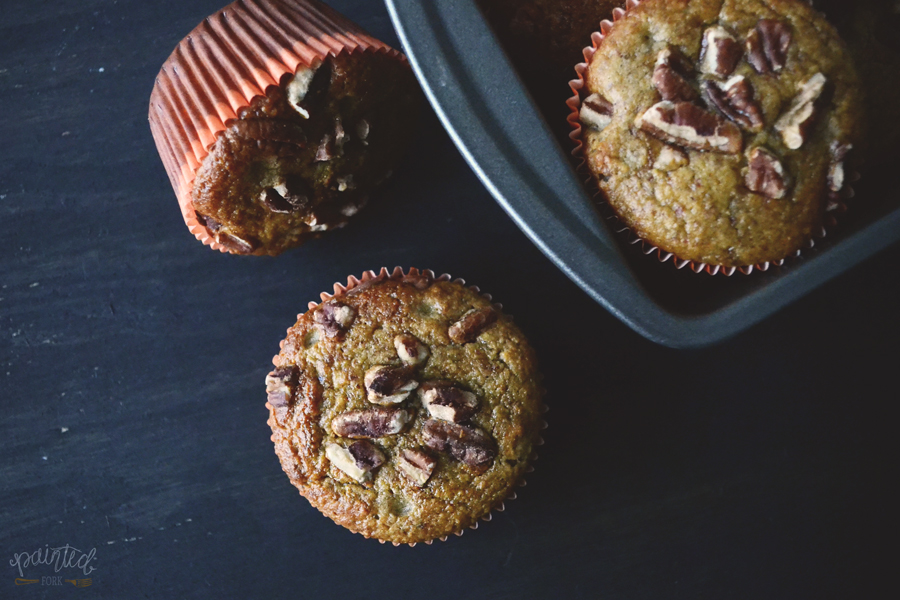Paleo & Gluten-Free Banana Nut Muffins, recipe by PaintedFork.com