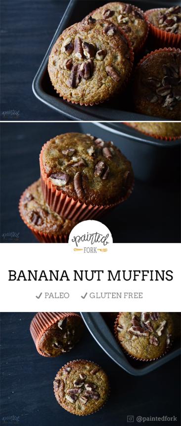 Paleo & Gluten-Free Banana Nut Muffins, recipe by PaintedFork.com