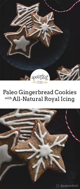 Clean-eating alternative for classic gingerbread cutouts with royal icing. The icing dries solid and won't smudge!