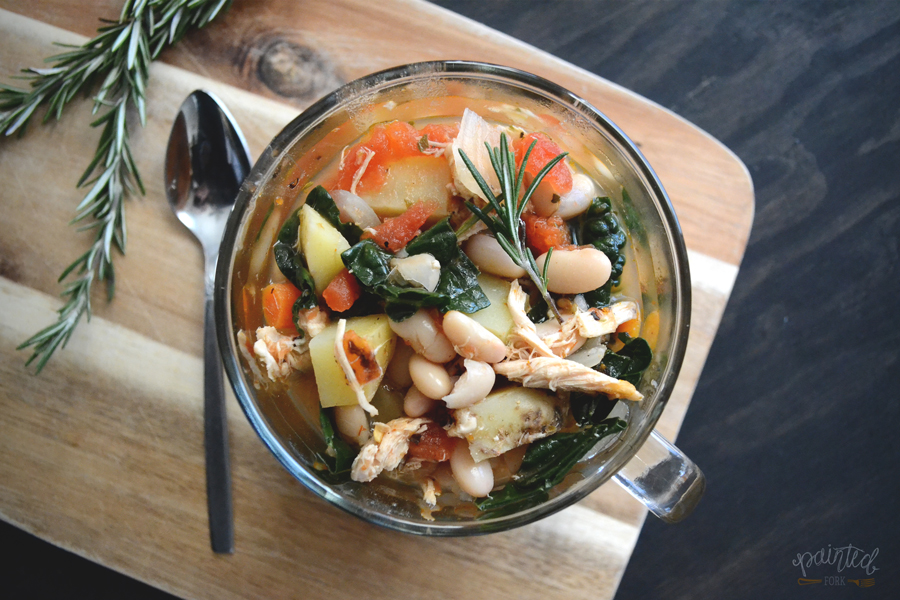 Tuscan Chicken, Kale & White Bean Soup by PaintedFork.com